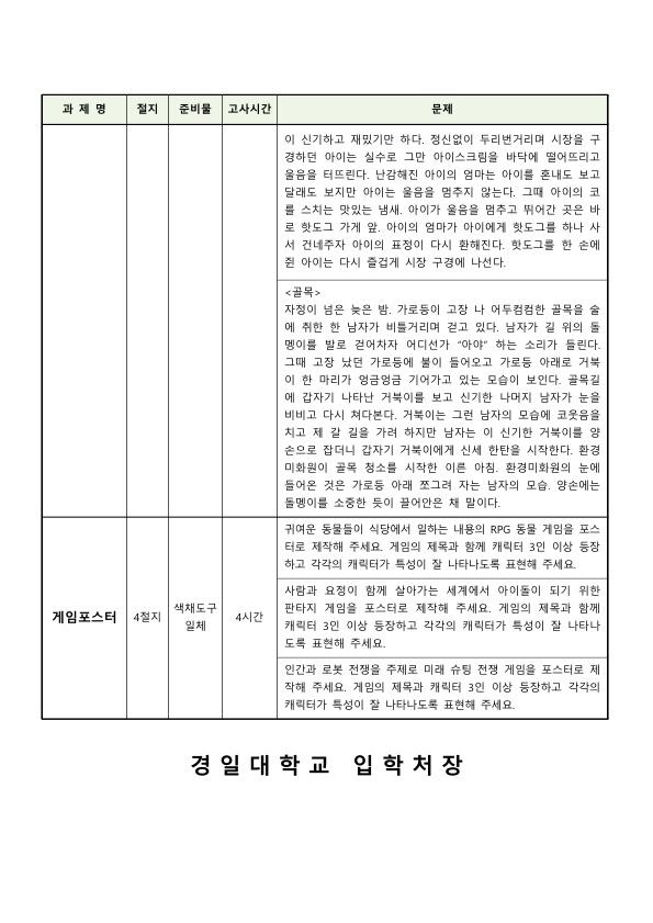 2021 정시 실기고사 문제은행_만화애니메이션학부_2